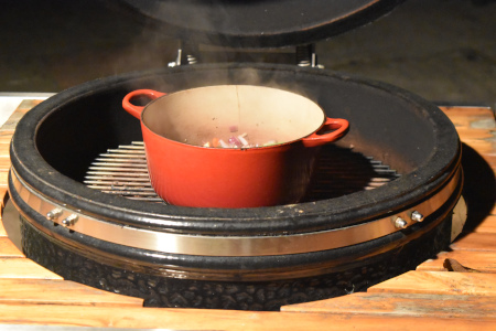 A Dutch Oven Casserole On My Monolith Ceramic Grill