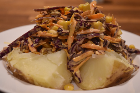 Perfect Baked Potato With Colourful Crunchy Coleslaw