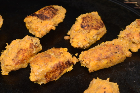 Sweet potato koftas cooking nicely on the plancha