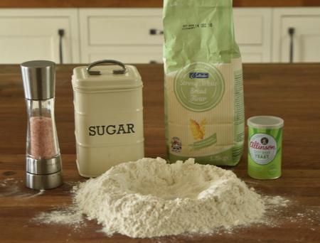 Getting the ingredients together for our vegan pesto bread dough