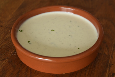 A ramakin full of vegan ranch sauce