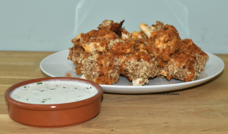 Vegan ranch sauce served with barbecue buffalo cauliflower - tasty!
