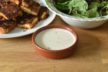 My vegan ranch sauce served with breaded tofu and green leaf salad